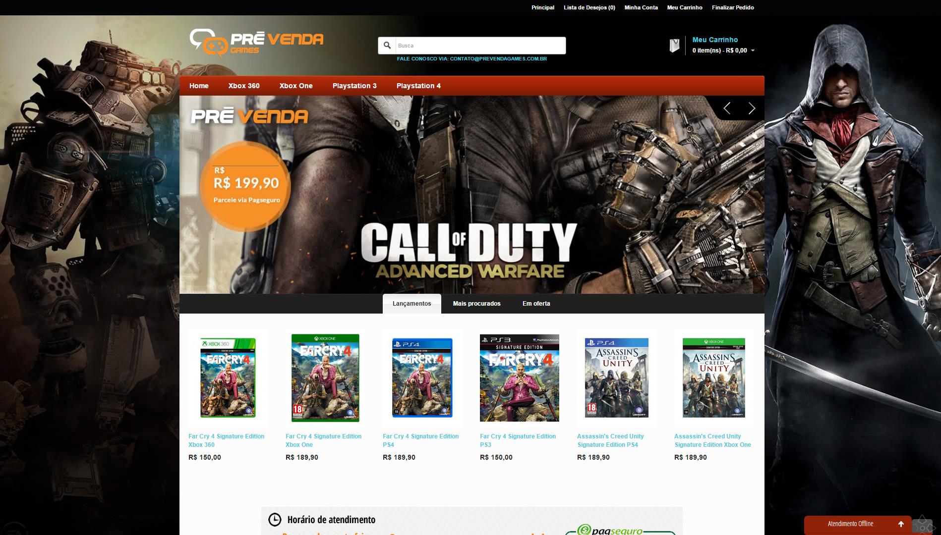 Loja Virtual desenvolvida para empresa Pré-venda Games