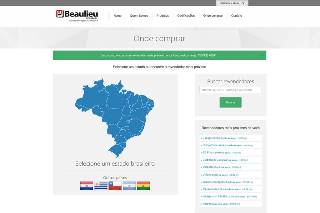 Site desenvolvido para empresa Beaulieu do Brasil