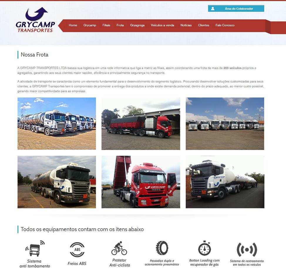 Site desenvolvido para empresa Grycamp Transportes