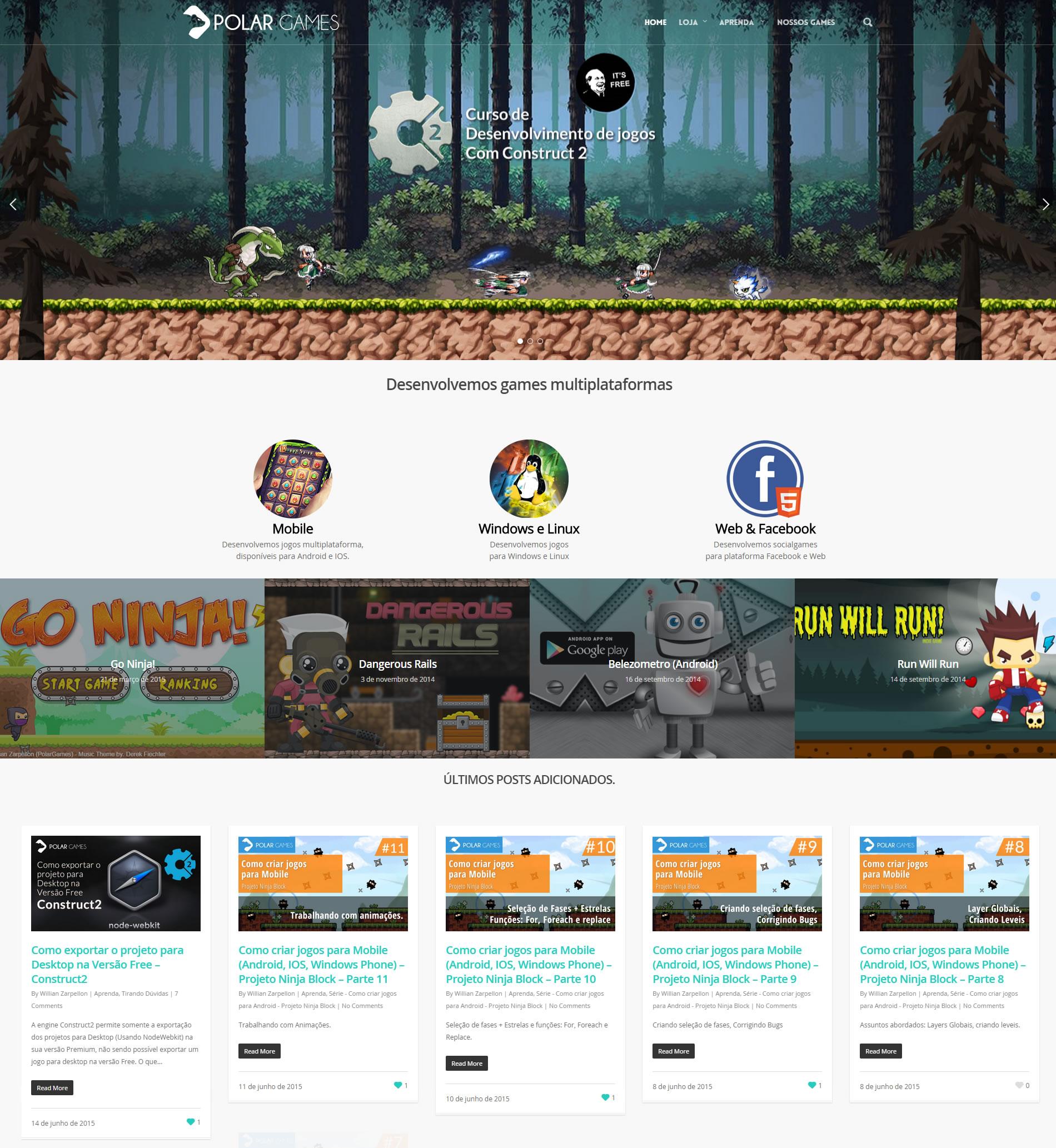 Site desenvolvido para Polar Games
